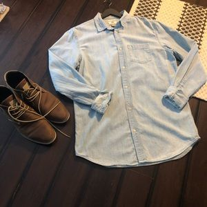 Denim LARGE TALL button up shirt from Old Navy.